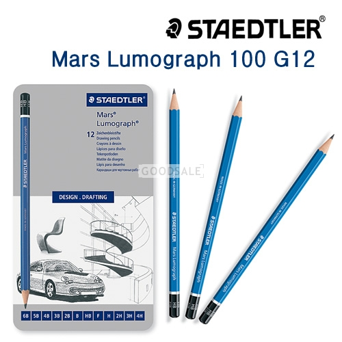 larger Staedtler Mars lumograph 100G12 Drafting Pencils 12 piece Set [4H~6B] with tin case