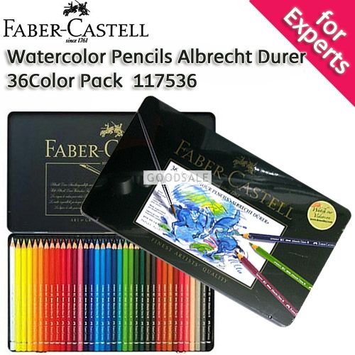 larger Faber-Castell Albert Durer Watercolor Pencils 36 Color Pack with Tin Case