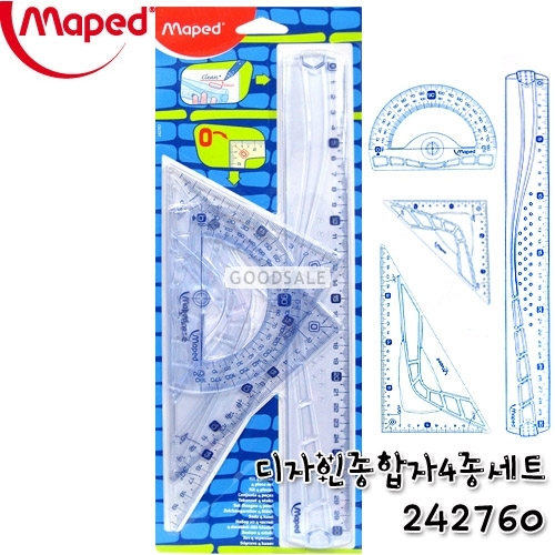 larger Maped Maxi Graphic Set - 4 pcs Ruler, Protractor, 2 Triangular Rulers 242760